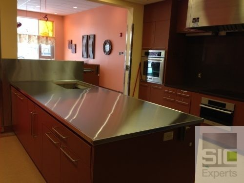Custom stainless steel countertop