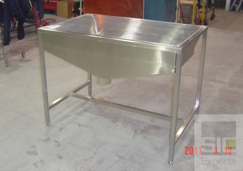 Downdraft table stainless steel