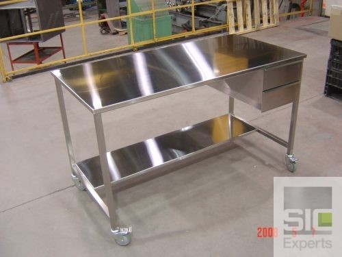 Stainless steel table with drawers SIC22904